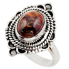 3.19cts natural brown pietersite (african) silver solitaire ring size 7 d46091