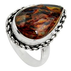 11.23cts natural brown pietersite (african) silver solitaire ring size 7 r28185
