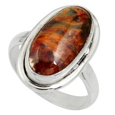 8.28cts natural brown pietersite (african) silver solitaire ring size 7 r28196