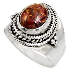 4.20cts natural brown pietersite (african) silver solitaire ring size 8 d39031