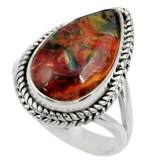 12.04cts natural brown pietersite (african) silver solitaire ring size 8 r28215