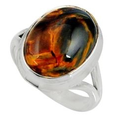 10.02cts natural brown pietersite (african) silver solitaire ring size 8 r28218