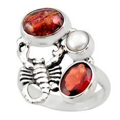 5.75cts natural brown pietersite 925 silver scorpion charm ring size 6 d46081