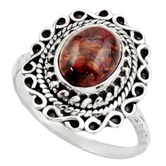 3.13cts natural brown pietersite 925 silver solitaire ring size 8.5 d46547