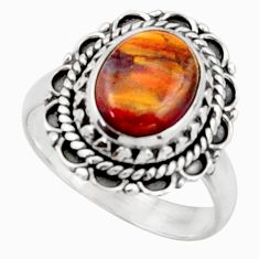 4.51cts natural brown pietersite 925 silver solitaire ring size 6.5 d46553
