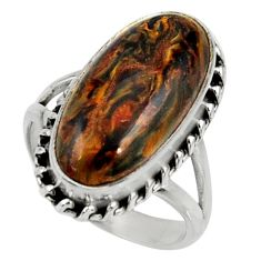 10.51cts natural brown pietersite 925 silver solitaire ring size 6.5 r28182