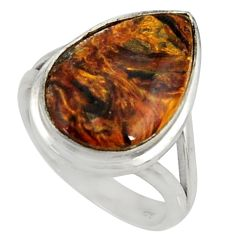 10.68cts natural brown pietersite 925 silver solitaire ring size 7.5 r28186