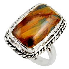9.40cts natural brown pietersite 925 silver solitaire ring size 7.5 r28765