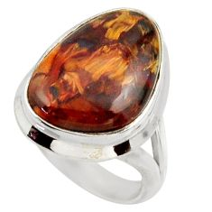 11.10cts natural brown pietersite 925 silver solitaire ring size 5 r28763
