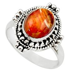4.30cts natural brown pietersite 925 silver solitaire ring size 7 d46502