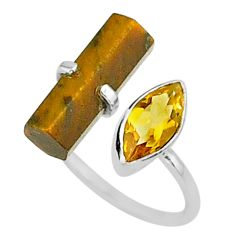 6.97cts natural brown tiger's eye 925 silver adjustable ring size 7 t36312