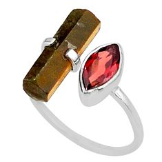 6.95cts natural brown tiger's eye 925 silver adjustable ring size 9 t36309