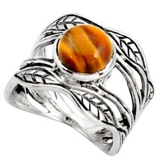 2.92cts natural brown tiger's eye 925 silver solitaire leaf ring size 6.5 r36969