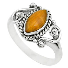 2.39cts natural brown tiger's eye 925 silver solitaire ring jewelry size 7 t7688