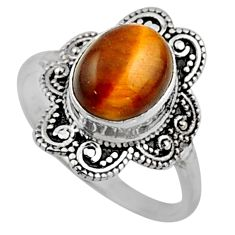 4.23cts natural brown tiger's eye 925 silver solitaire ring size 8.5 r54492