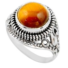 5.53cts natural brown tiger's eye 925 silver solitaire ring size 7.5 r54595