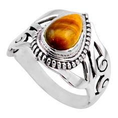 2.23cts natural brown tiger's eye 925 silver solitaire ring size 6.5 r54652
