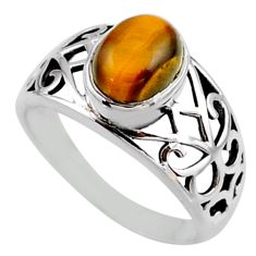 3.41cts natural brown tiger's eye 925 silver solitaire ring size 8.5 r54672