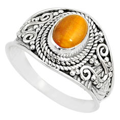 2.17cts natural brown tiger's eye 925 silver solitaire ring size 8.5 r81412