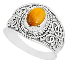 1.99cts natural brown tiger's eye 925 silver solitaire ring size 7.5 r81416