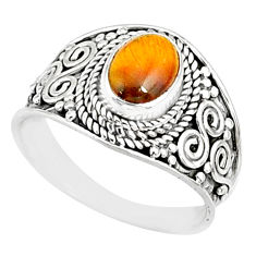 1.82cts natural brown tiger's eye 925 silver solitaire ring size 7.5 r81418