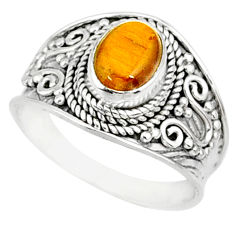 2.13cts natural brown tiger's eye 925 silver solitaire ring size 7.5 r81420