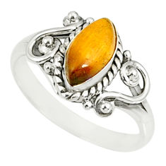 2.53cts natural brown tiger's eye 925 silver solitaire ring size 6.5 r82502