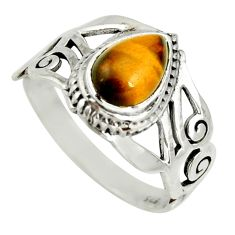 2.13cts natural brown tiger's eye 925 silver solitaire ring size 6 r26241