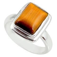 4.46cts natural brown tiger's eye 925 silver solitaire ring size 6 r34170