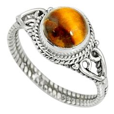 2.38cts natural brown tiger's eye 925 silver solitaire ring size 6 r79010