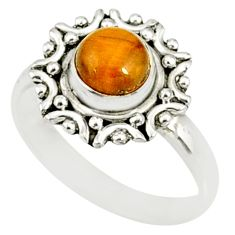 1.20cts natural brown tiger's eye 925 silver solitaire ring size 6 r82102