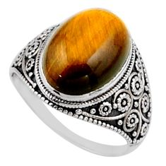 6.01cts natural brown tiger's eye 925 silver solitaire ring size 7 r54632