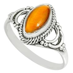 2.27cts natural brown tiger's eye 925 silver solitaire ring size 7 r78889
