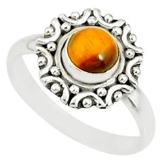 1.18cts natural brown tiger's eye 925 silver solitaire ring size 7 r82103