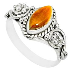 2.37cts natural brown tiger's eye 925 silver solitaire ring size 7 r82125