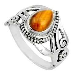 2.44cts natural brown tiger's eye 925 silver solitaire ring size 8 r26603