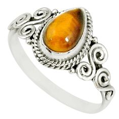 2.31cts natural brown tiger's eye 925 silver solitaire ring size 8 r78909