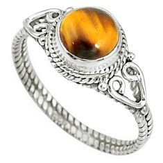 2.38cts natural brown tiger's eye 925 silver solitaire ring size 8 r79012