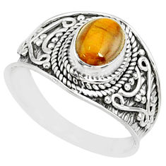1.99cts natural brown tiger's eye 925 silver solitaire ring size 8 r81415