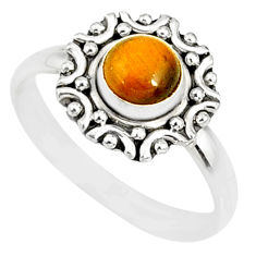 1.29cts natural brown tiger's eye 925 silver solitaire ring size 8 r82101
