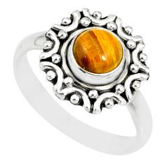1.20cts natural brown tiger's eye 925 silver solitaire ring size 8 r82105