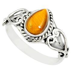 2.09cts natural brown tiger's eye 925 silver solitaire ring size 8 r82481