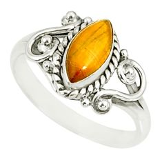 2.44cts natural brown tiger's eye 925 silver solitaire ring size 8 r82503
