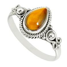 2.42cts natural brown tiger's eye 925 silver solitaire ring size 9 r78872