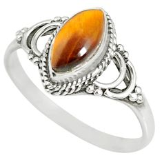 2.73cts natural brown tiger's eye 925 silver solitaire ring size 9 r78890