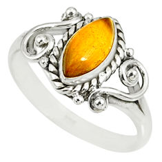 2.55cts natural brown tiger's eye 925 silver solitaire ring size 9 r82501