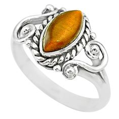 2.44cts natural brown tiger's eye 925 silver solitaire ring size 5.5 t7686