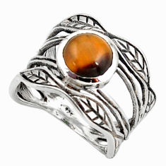 3.01cts natural brown tiger's eye 925 solitaire leaf silver ring size 8 r36968