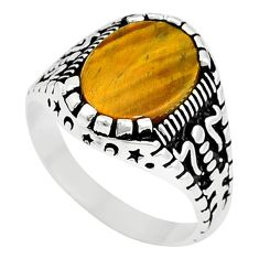 Natural brown tigers eye 925 sterling silver mens ring size 10.5 c11556
