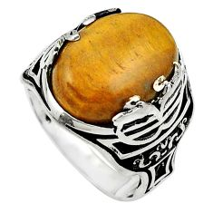 Natural brown tigers eye 925 sterling silver mens ring size 9.5 c11491